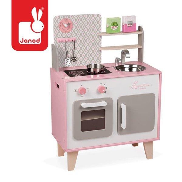 Drewniana Kuchnia Dla Dzieci Duża Różowa Akcesoria Zestaw