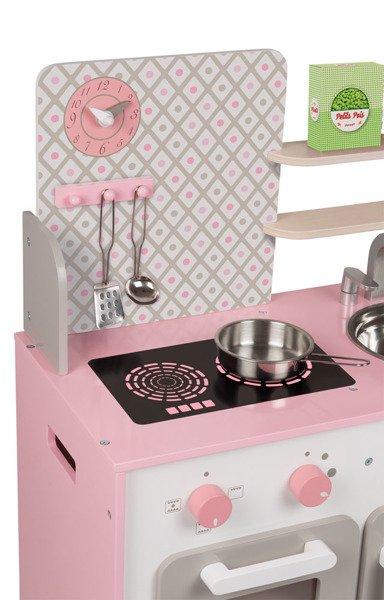 Drewniana Kuchnia Dla Dzieci Duza Rozowa Akcesoria Zestaw Macaron