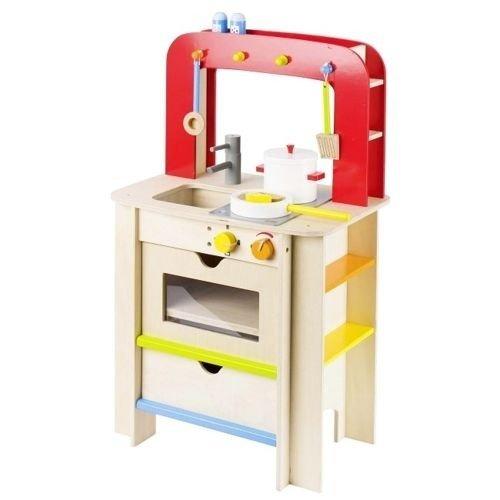 Drewniana Kuchnia Dla Dzieci Duza Kuchenka Z Dodatkami Czerwony